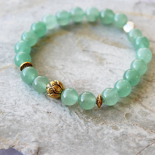 Green Aventurine + Lotus Crystal Intention Bracelet Crystal Healing Bracelet