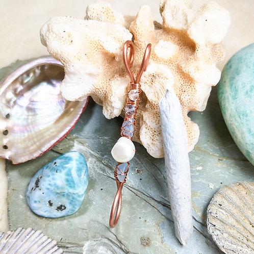 Mermaid Inspired Pearl and Fluorite Smoking Ring