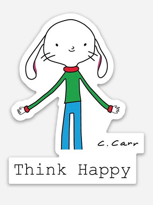 "Corwin ""Think Happy"" sticker"