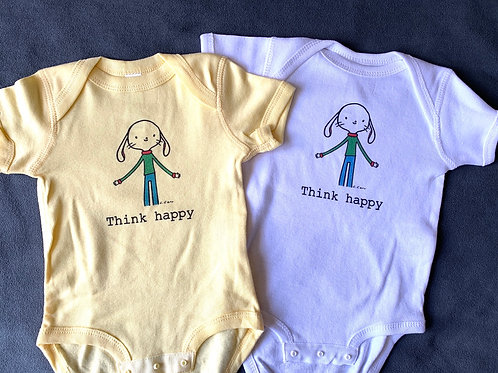"""Think happy"" and ""smile"" onesie (6 months)"