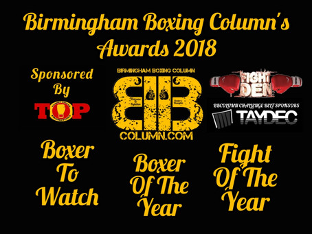 Birmingham Boxing Column Awards 2018