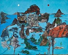 Heart-land 6, 130.5×162cm, 한지에 고서꼴라쥬, 수묵