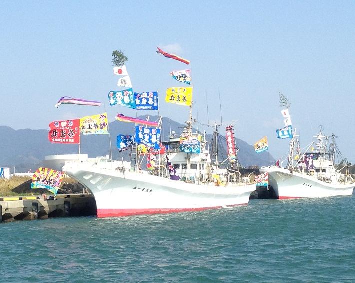 焼津の大漁漁船