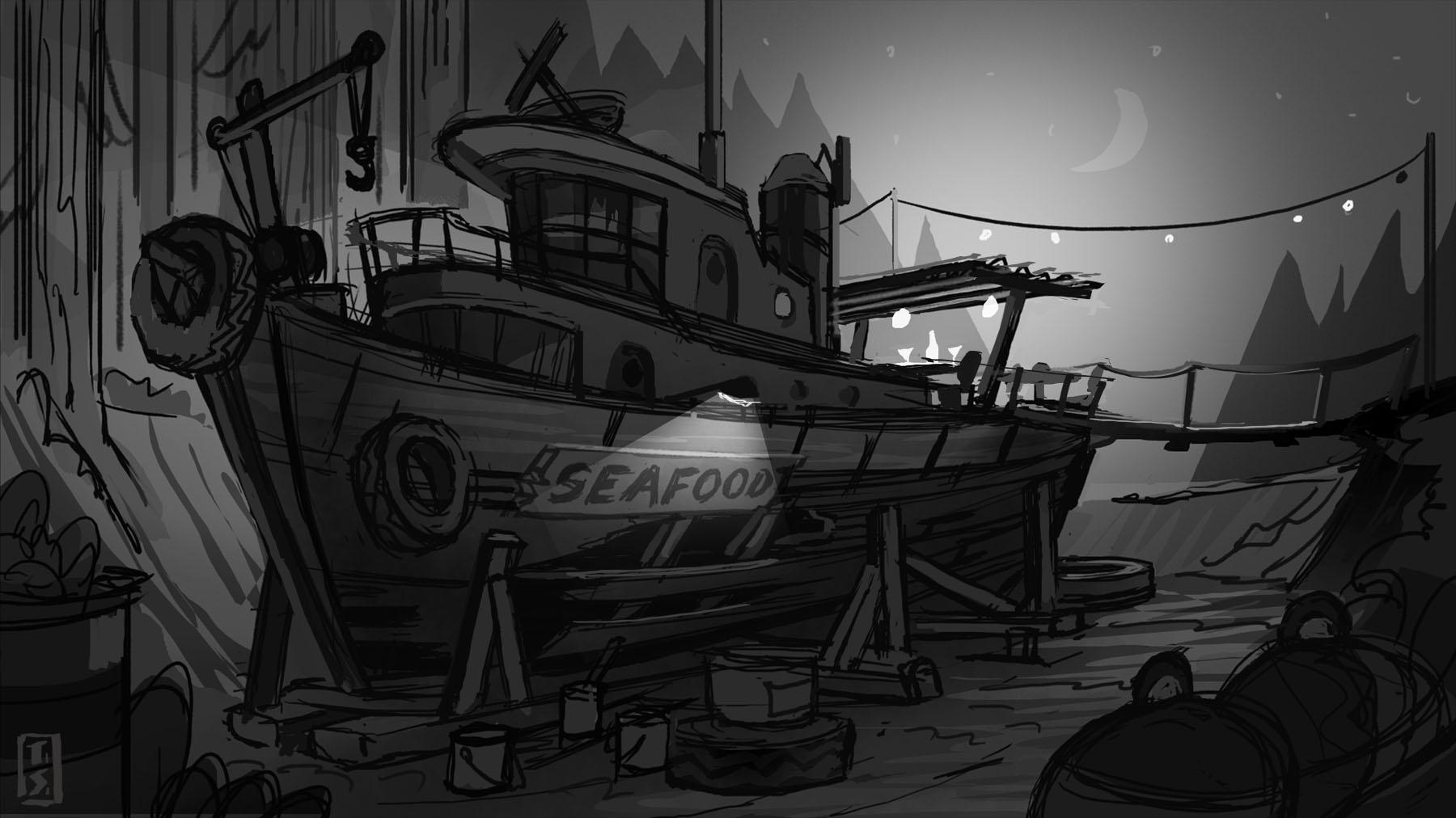 Seafood restaurant concept sketch