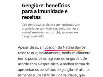 Globo - Eu Atleta: Gengibre: benefícios para a imunidade e receitas