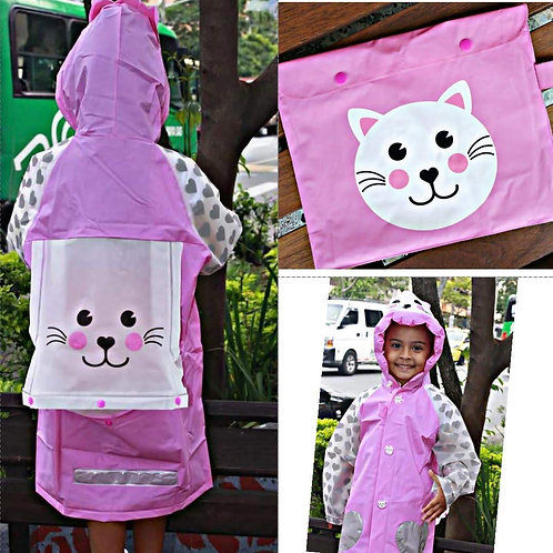 Capa Impermeable Para Niña Pink Cat Al Por Mayor