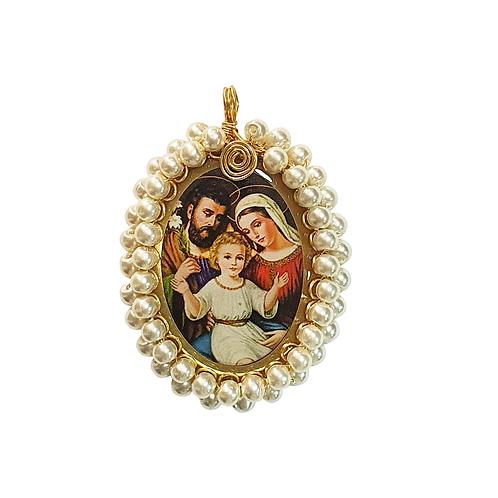 Dije Sagrada Familia Tipo Perlas Con baño De Oro Al Por Mayor