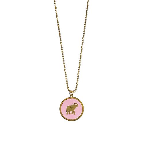 Collar Con Dije Elefante Rosa Al Por Mayor