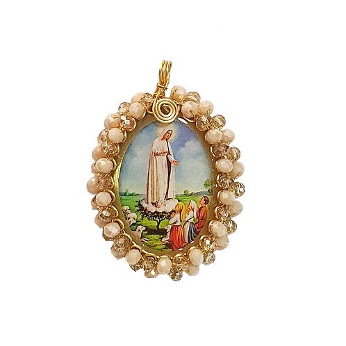 Dije Virgen de Fatima Con baño De Oro Tejido En Murano Al Por Mayor