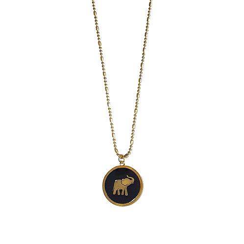 Collar Con Dije Elefante Negro Al Por Mayor
