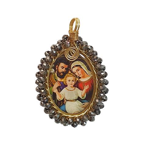 Dije Sagrada Familia Con baño De Oro Tejido en Murano Al Por