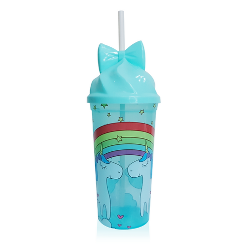 Vaso Pitillo Plástico Unicorn Rainbow Azul