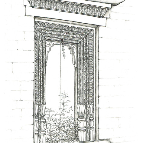 Sketch of a Likhai Jharokha