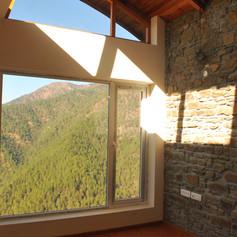 Sunlight filtering through the skylight