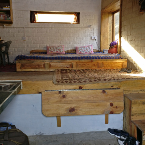 A platform bed in the homestay