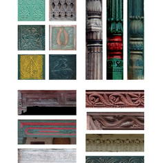 Likhai on the different parts of the Jharokha
