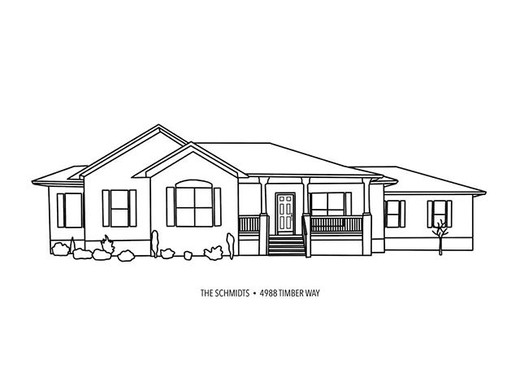 black and white outlined drawing of house