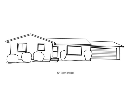 black and white outlined house portrait