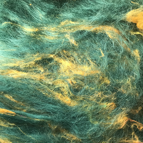 Green and gold carded batt 100g
