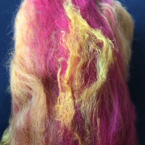 Red yellow and gold carded batts