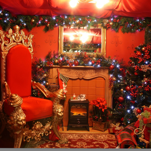 Santa's traditional luxury grotto for a warm festive welcome.