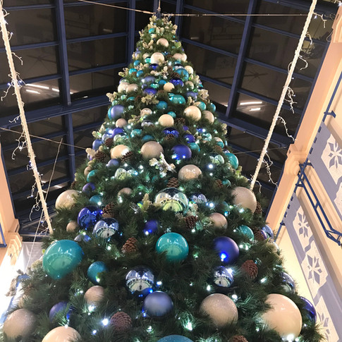 Giant dressed tree with baubles and LED twinkling lights