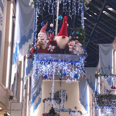 Christmas ski lifts with animated gnomes