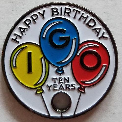 IGO 10th Birthday Pathtag, White