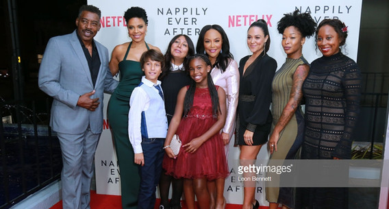 Ernie Hudson, Sanaa Lathan, Adam Niemann, Haifaa Al-Mansour, Daria Johns, Lynn Whitfield, Camille Guaty, Brittany S. Hall and Tracey Bing attend a screening of Netlfix's 'Nappily Ever After' at Harmony Gold Theatre on September 20, 2018 in Los Angeles, California.