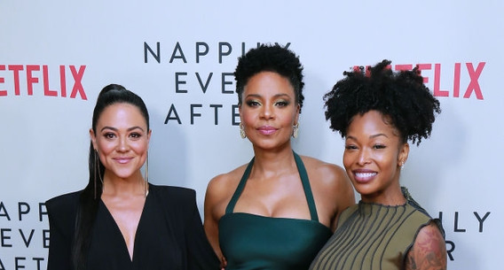 Camille Guaty, Sanaa Lathan and Brittany S. Hall attend Special Screening Of Netflix's 'Nappily Ever After' at Harmony Gold on September 20, 2018 in Los Angeles, California.