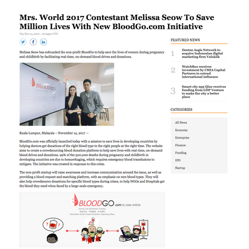 Reuters 14 Nov 17 - Mrs World 2017 Contestant Melissa Seow To Save Million Lives With New BloodGo.com Initiative