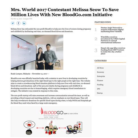 Reuters 14 Nov 17 - Mrs World 2017 Contestant Melissa Seow To Save Million Lives With New BloodGo.com Initiative