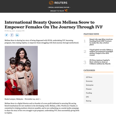 Reuters 24 Nov 17 - International Beauty Queen Melissa Seow to Empower Females On The Journey Through IVF