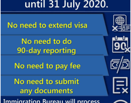 UPDATE- Automatic extension from 1 May to 31 July 2020 of the right to stay in Thailand.
