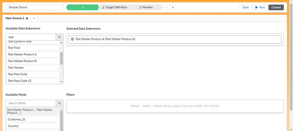 DESelect Data extension Selection Page