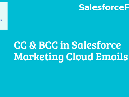 CC & BCC in Salesforce Marketing Cloud Emails