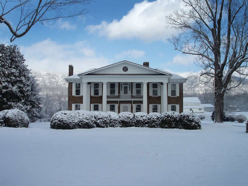 karlan mansion in snow blue sky