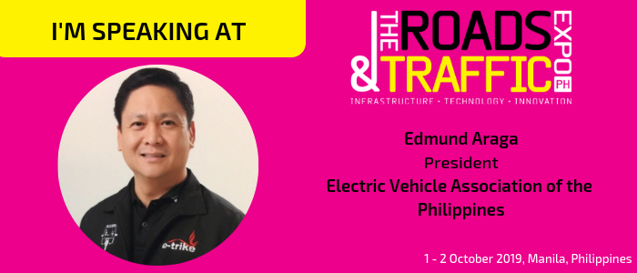 Gain insights on The EV Roadmap in the Philippines from Edmund Araga, President, Electric Vehicle Association of the Philippines at The Roads & Traffic Expo Philippines. Join him and over 2,000 transport and infrastructure stakeholders on 1-2 October in Manila, Philippines. Find out more: http://bit.ly/2U32nCd