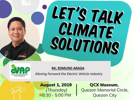 Meet Mr. Edmund Araga, President of the Electric Vehicle Association of the Philippines, at the Let's Talk Climate Solutions conference.