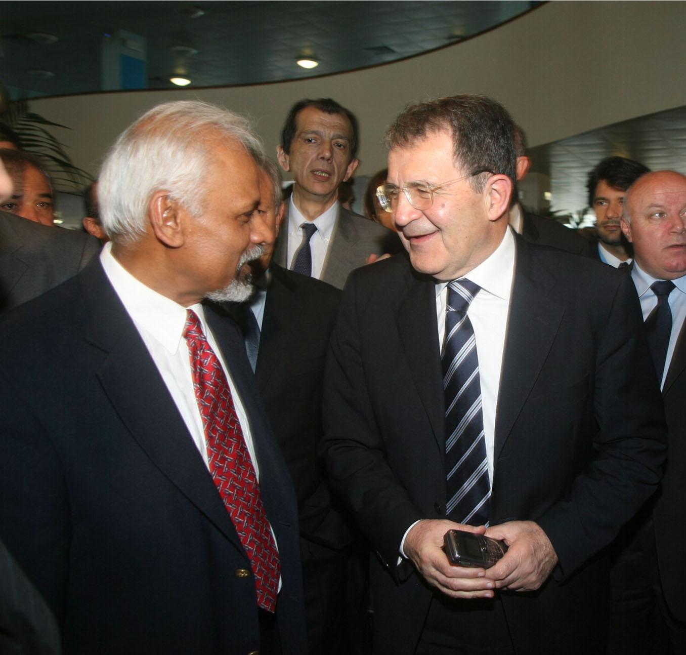 K.R. Sreenivasan, Silvio Sircana (Prodi's spokesman) and Romano Prodi, Italian Prime Minister