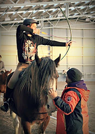 Australa's most qualified horse archery instructor, Ktrina Kruse teaching in NZ
