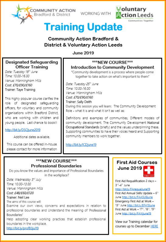 June 2019 Community Action Training Leaflet