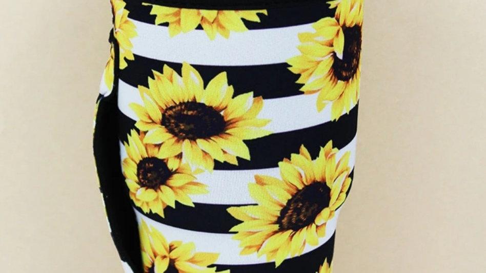 Striped Sunflower Tumbler Koozie