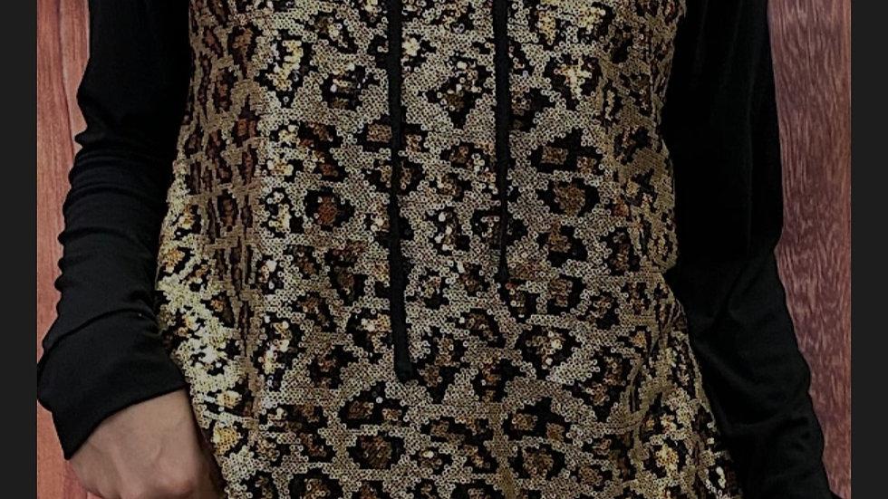 Gold Leopard Sequin Hoodie