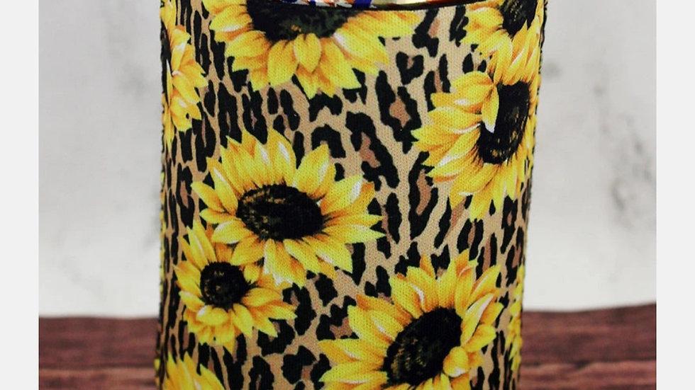 Leopard Sunflower Can Koozie