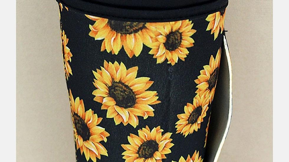 Black Sunflower Tumbler Koozie