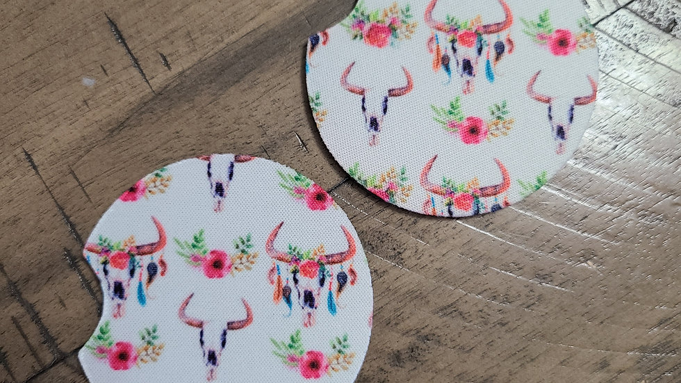 Boho Bull Head Car Coasters