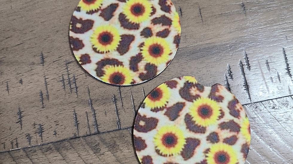 Leopard Sunflower Car Coasters