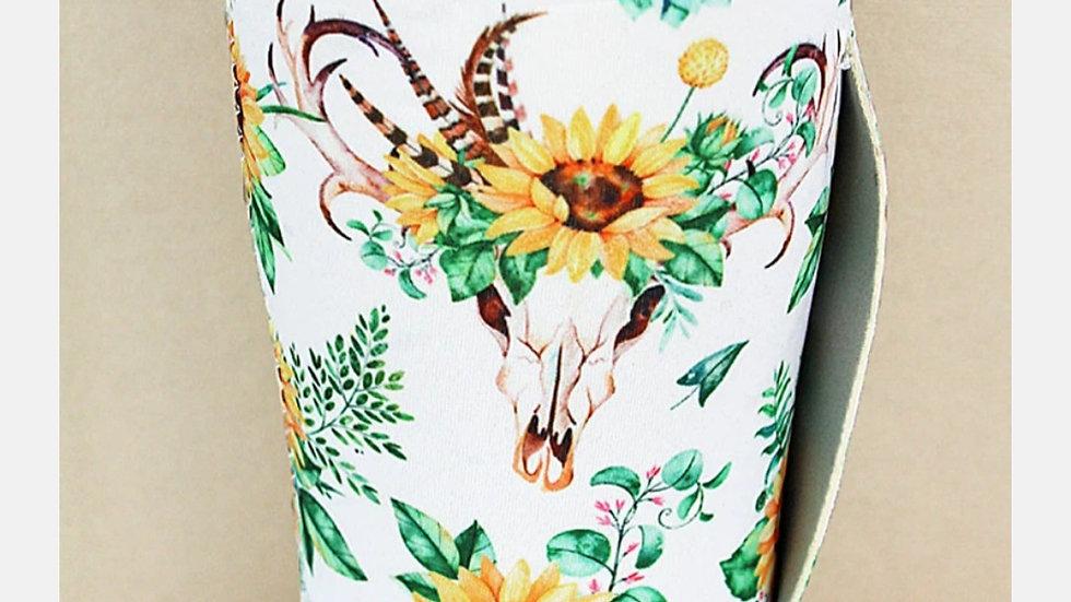 Sunflower Bull Skull Tumbler Koozie