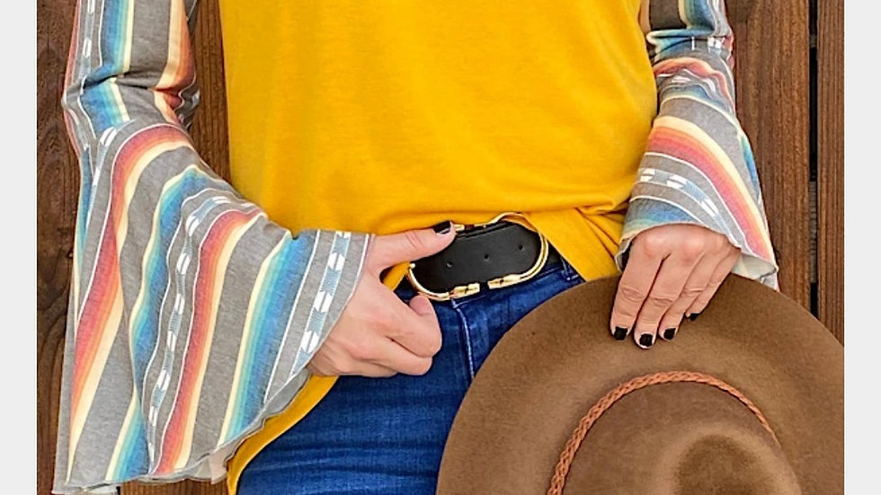 Mustard/Serape Off-the-shoulder Bell Sleeve